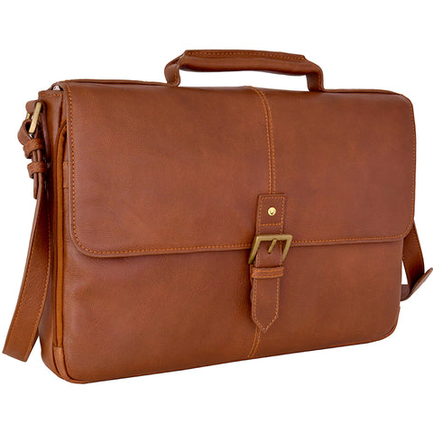 "Hidesign Charles Leather 15"" Laptop Compatible Briefcase Work Bag Tan"