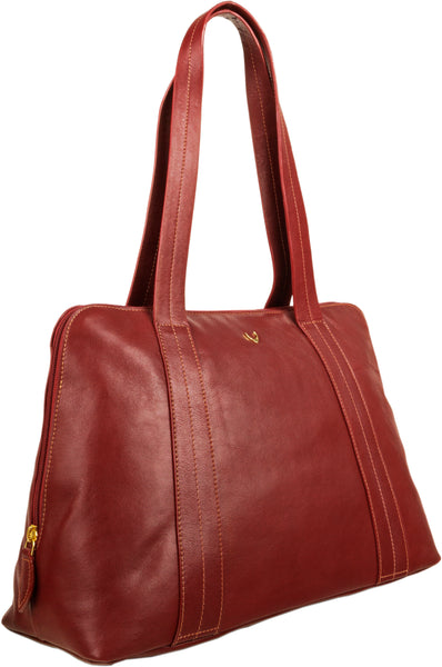 Hidesign Cerys Leather Multi-Compartment Tote Shoulder Bag Red