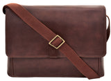Hidesign Aiden Leather Business Laptop Messenger Cross Body Bag Brown