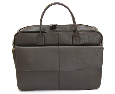 MJ Room BRUNO Leather Brown Messenger Briefcase