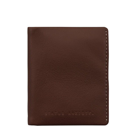 STATUS ANXIETY EDWIN LEATHER CARD WALLET CHOCOLATE BROWN