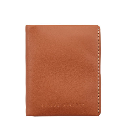 STATUS ANXIETY EDWIN LEATHER CARD WALLET CAMEL BROWN