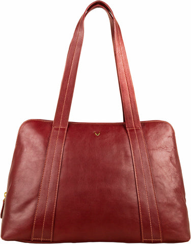 Hidesign Cerys Leather Multi-Compartment Shoulder Bag Red