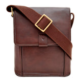 Hidesign Aiden Small Leather Messenger Cross Body Bag Brown