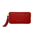 Laconic Style Trouvaille zip Pebbled Leather Smartphone Wristlet & Crossbody Wallet Red