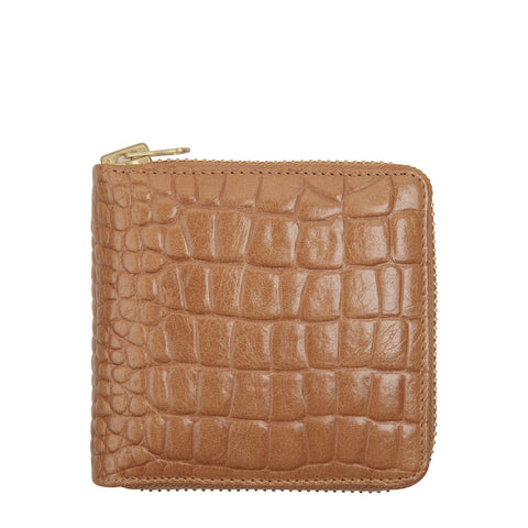 STATUS ANXIETY Empire Croc Leather Wallet Tan