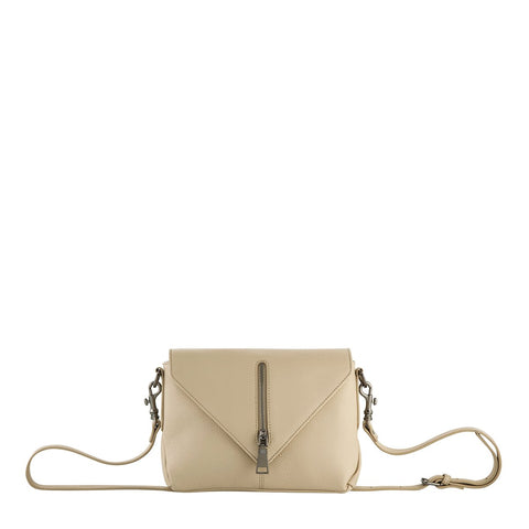 STATUS ANXIETY EXILE LEATHER SHOULDER BAG NUDE BEIGE WITH FREE WALLET