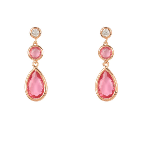 Latelita London Tuscany Gemstone Drop Earring Rose Gold Pink Tourmaline