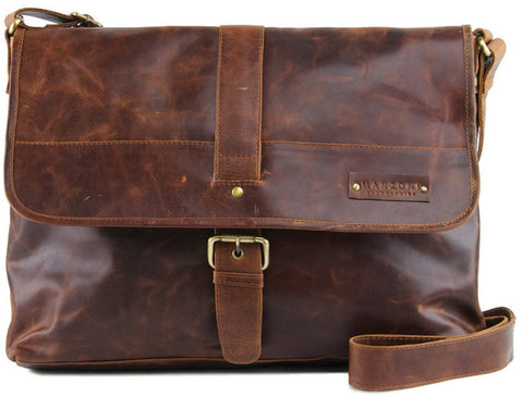 MANZONI Leather Distressed Messenger Bag F164 Tan with FREE WALLET