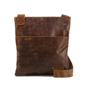 Manzoni Leather Sling Bag (Style F165) - SALE - TAN DISTRESSED