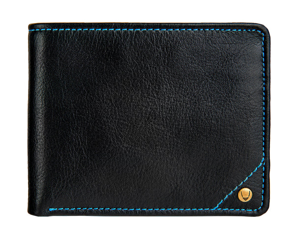 Hidesign Angle Stitch Leather Multi-Compartment Leather Wallet Black