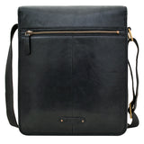 Hidesign Aiden Medium Leather Messenger Cross Body Bag Black