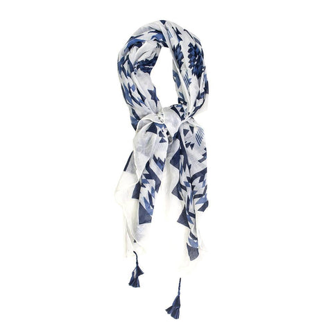 Claudia G Jan Scarf White Blue