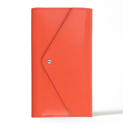 Paperthinks Leather Travel Wallet Envelope Tangerine Orange
