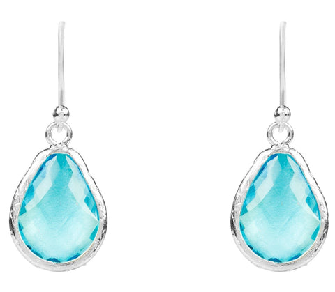 Latelita London Petite Drop Earring Blue Topaz Hydro Silver