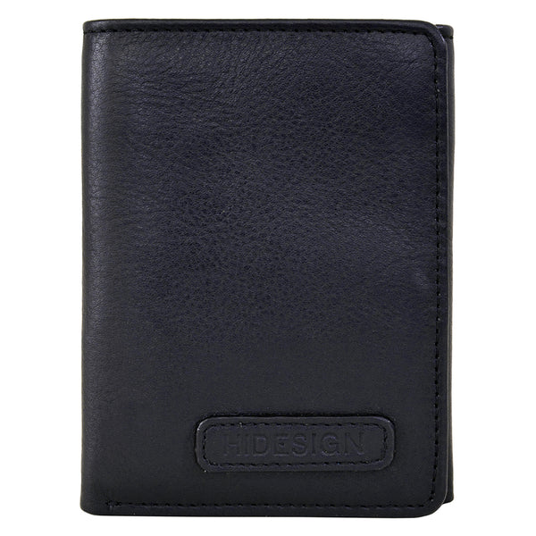 Hidesign Charles Classic Trifold Leather Wallet with ID Window Black