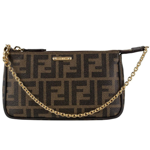 FENDI Logo Pouchette Shoulder Bag Clutch Brown