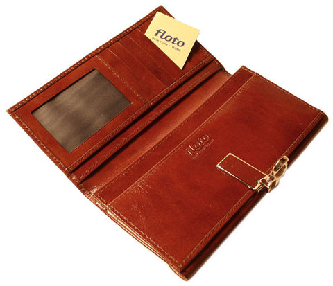 FLOTO Firenze Leather Chequebook Clutch Wallet Avana Brown