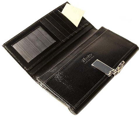 FLOTO Firenze Leather Chequebook Clutch Wallet Black