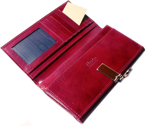 FLOTO Firenze Leather Chequebook Clutch Wallet Tosca Red
