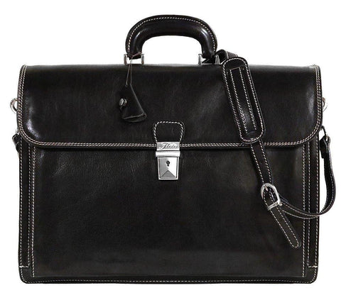 FLOTO Leather Firenze Briefcase Black