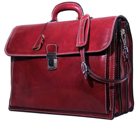 FLOTO Leather Firenze Briefcase Tuscan Red