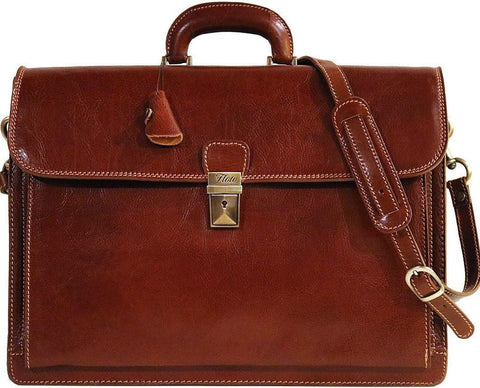 FLOTO Leather Firenze Briefcase Vecchio Brown
