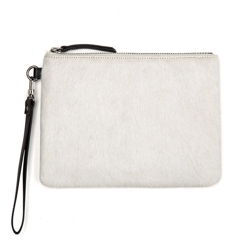 STATUS ANXIETY Fixation Leather Clutch Wallet Arctic White Fur