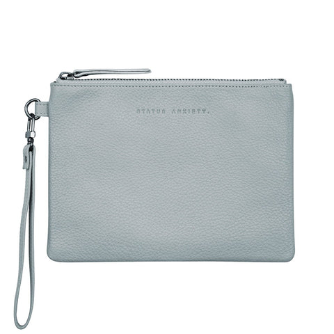 STATUS ANXIETY FIXATION LEATHER CLUTCH WALLET ARCTIC GREY