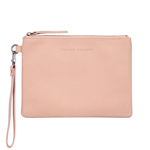 STATUS ANXIETY FIXATION LEATHER CLUTCH WALLET DUSTY PINK