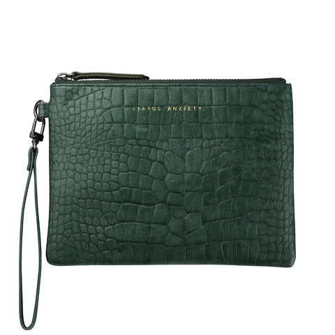 STATUS ANXIETY FIXATION LEATHER CLUTCH WALLET TEAL GREEN CROC EMBOSS
