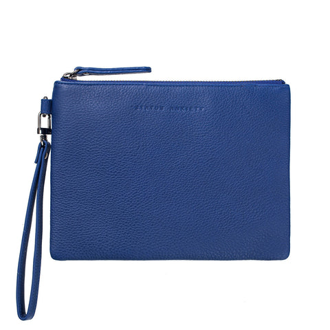 STATUS ANXIETY Fixation Leather Clutch Wallet Blue