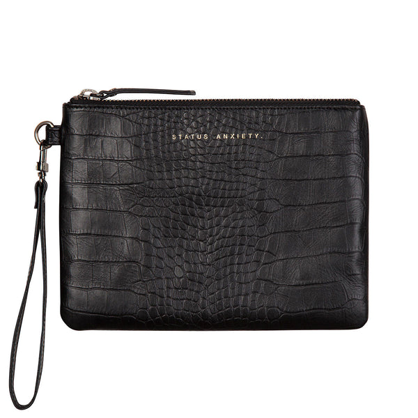 STATUS ANXIETY Fixation Leather Clutch Wallet Black Croc Emboss