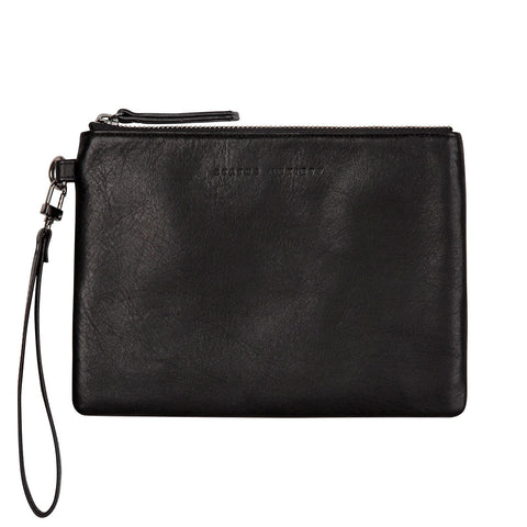 STATUS ANXIETY Fixation Leather Clutch Wallet Black