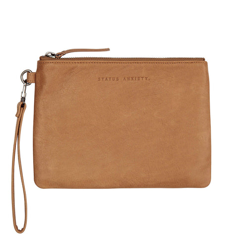 STATUS ANXIETY Fixation Leather Clutch Wallet Tan Brown