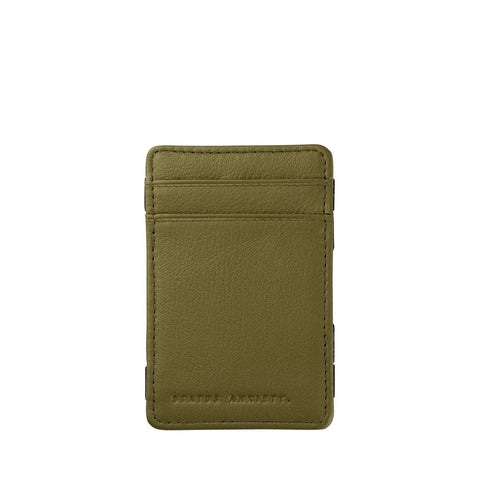 STATUS ANXIETY MAGIC FLIP LEATHER WALLET KHAKI GREEN