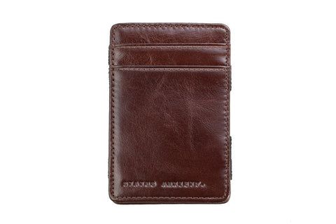 STATUS ANXIETY Magic Flip Leather Wallet Chocolate