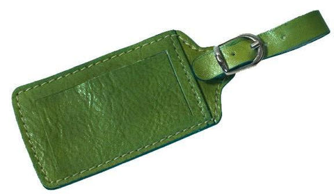 FLOTO Leather Luggage Tag Green