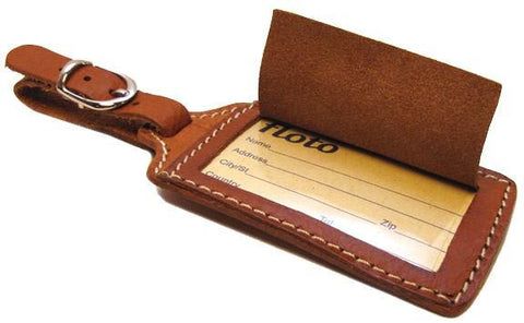 FLOTO Leather Luggage Tag Parma Brown
