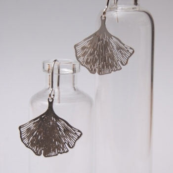 PIGEONHOLE Gingko Silver Earrings
