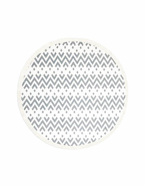 Miz Casa & Co Tribal Round Terry Towel Grey