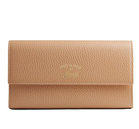 GUCCI Leather Camelia Swing Wallet Rose Beige