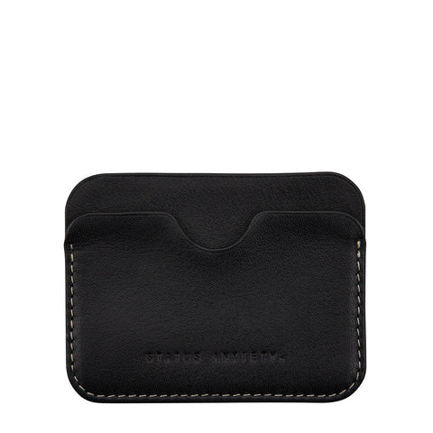 STATUS ANXIETY GUS LEATHER CREDIT CARD HOLDER BLACK