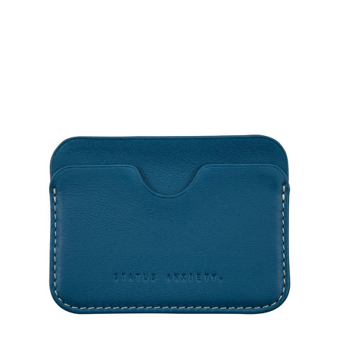 STATUS ANXIETY GUS LEATHER CREDIT CARD HOLDER BLUE