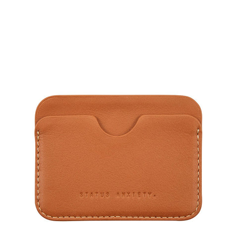 STATUS ANXIETY GUS LEATHER CREDIT CARD HOLDER CAMEL BROWN