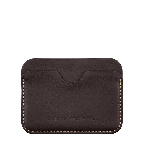 STATUS ANXIETY GUS LEATHER CREDIT CARD HOLDER CHOCOLATE BROWN