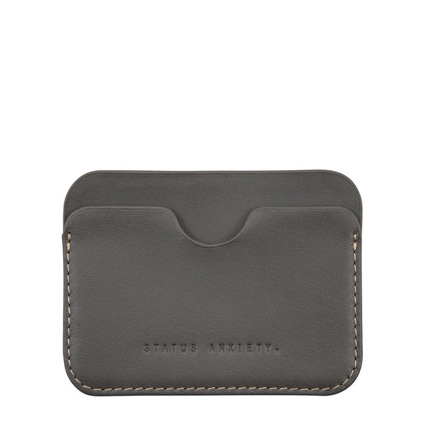 STATUS ANXIETY GUS LEATHER CREDIT CARD HOLDER SLATE GREY