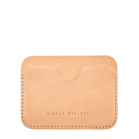 STATUS ANXIETY GUS LEATHER CREDIT CARD HOLDER TAN BROWN