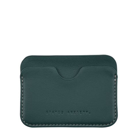 STATUS ANXIETY GUS LEATHER CARD HOLDER TEAL GREEN