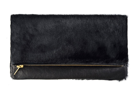 STATUS ANXIETY Gwyneth Leather Shoulder Bag Clutch Black Fur